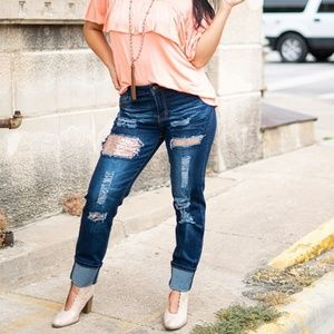 Lucky and Blessed Sequin Boyfriend Jeans